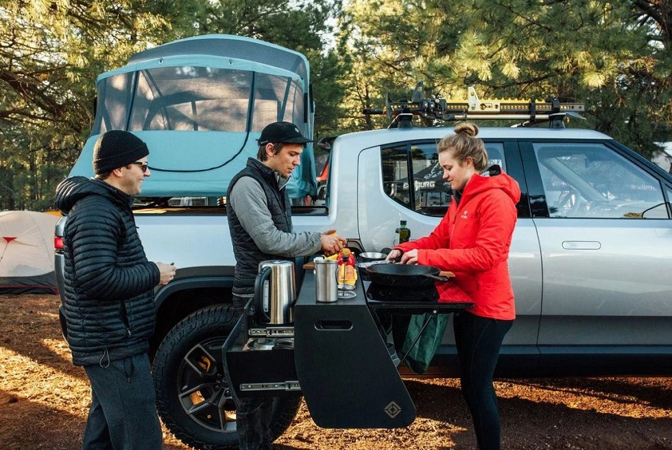Rivian designed Kitchen in its Electric Truck! Make a Trip