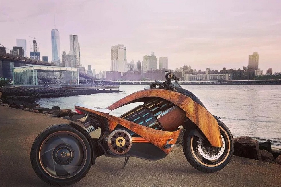 Newron's Curved-Wood Electric Motorcycle Design