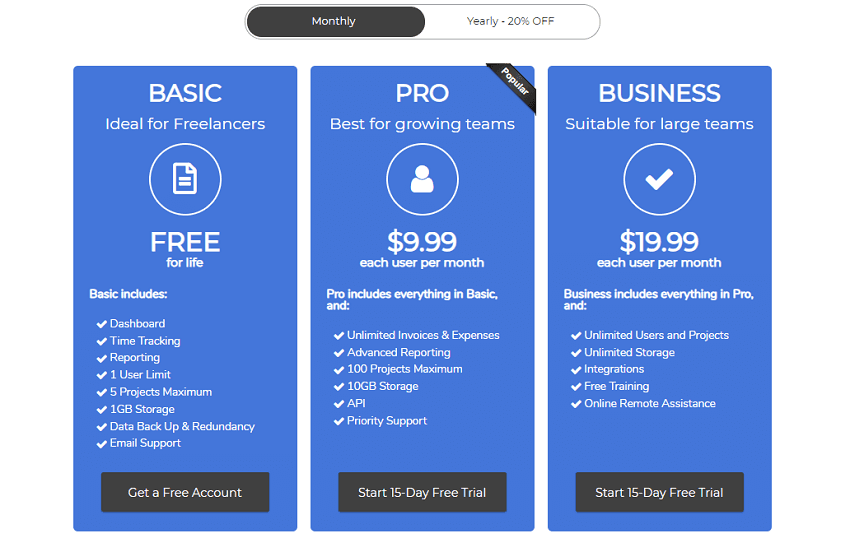Free Basic Plan - Timelo a complete tool for business