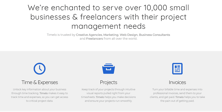 Project Management - Key Features of Timelo: