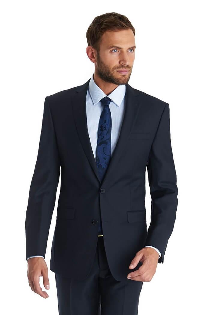Plain Navy Two-Button Suit - Types of Suits for Men