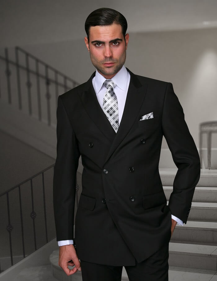 Dark Double-Breasted Suit