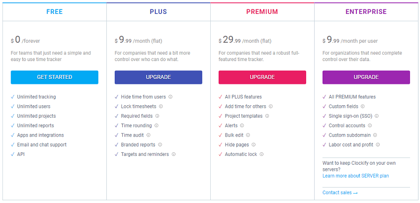 Clockify pricing