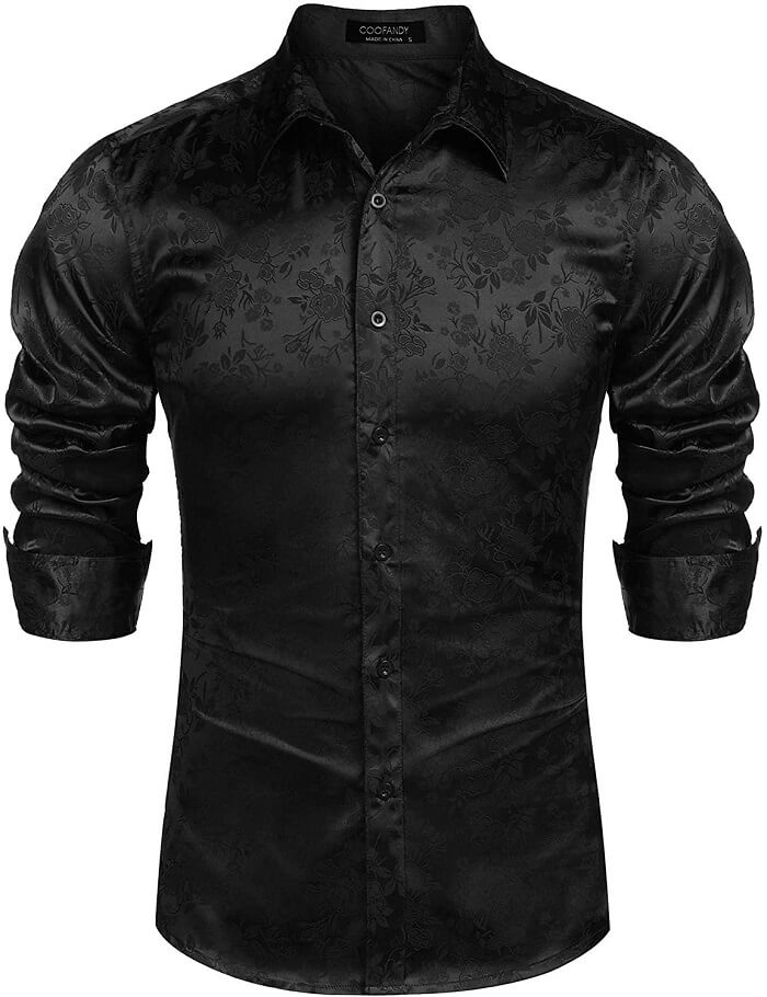 COOFANDY Men's Floral Rose Printed Satin Shirts - Best Satin Shirts for Men