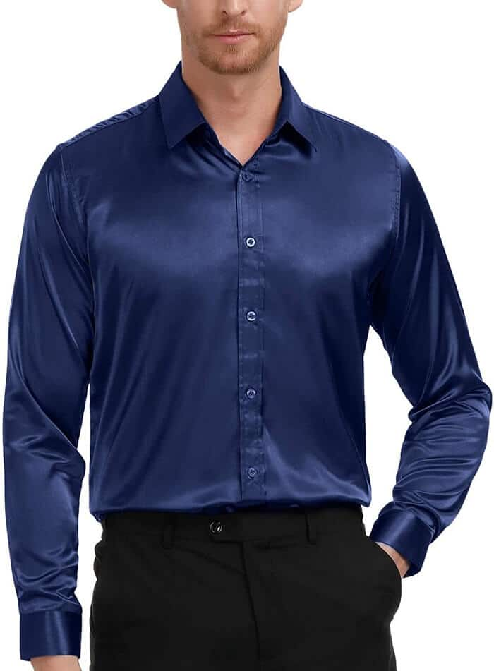 PAUL JONES Men's Slim-Fit Silk Like Satin Shirt