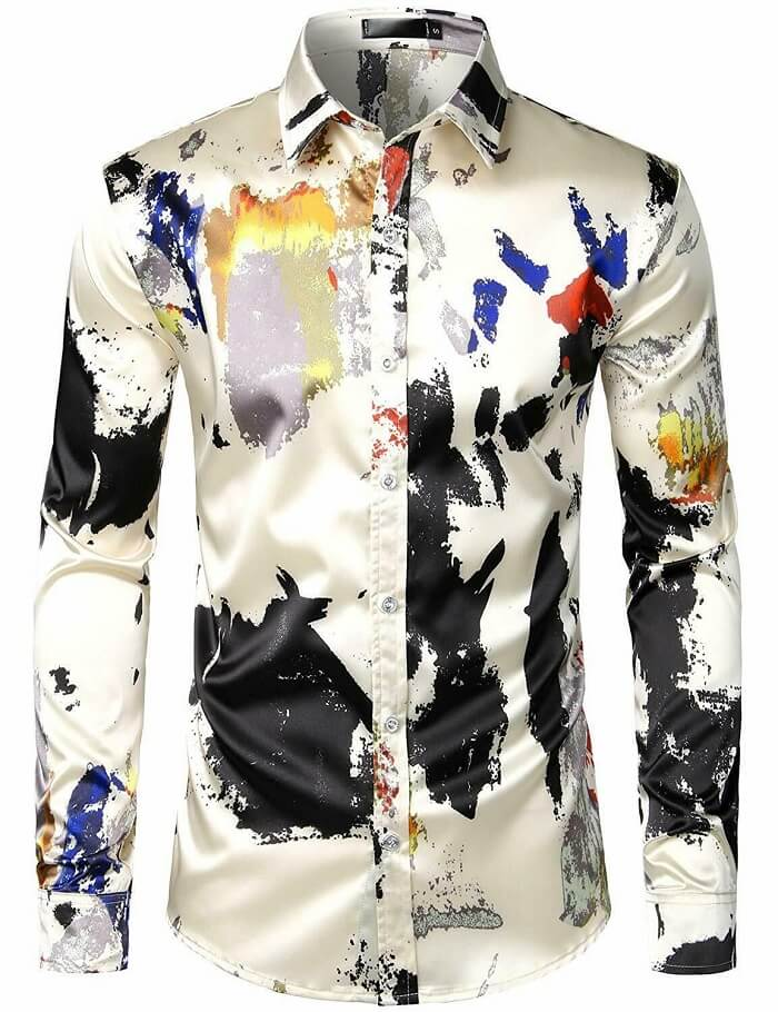 ZEROYAA Men's Printed Shirt - Best Satin Shirts for Men