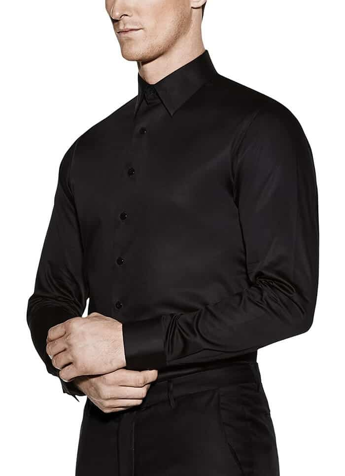 Vardama Men's Performance Black Dress Satin Shirt