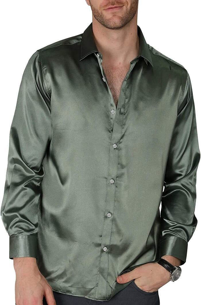 VICALLED Men's Satin Luxury Dress Shirt